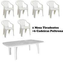 Conjunto Mesa Retangular E 6 Cadeiras Poltrona Plastico Branco - Antares