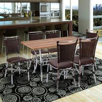 Conjunto Mesa Retangular em MDP e 6 Cadeiras 1892 Cozinha Fil Móveis Tabaco -