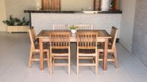 Conjunto Mesa Ripada 1,60m Com 6 Cadeiras Confort Em Madeira De Lei Maciça - Not Defined