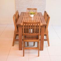 Conjunto Mesa Ripada 2,00m Com 6 Cadeiras Confort Em Madeira De Lei Maciça - Not Defined