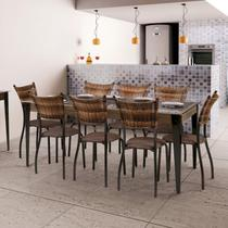 Conjunto Mesa Tampo de Vidro 8 Cadeiras MD05 Yescasa Grafite/Linho Marrom/Sienna -