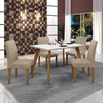 Conjunto Mesa Tampo de Vidro Branco Lavínia e 4 Cadeiras Olímpia Leifer Imbuia Mel/Off White/Linho Bege -