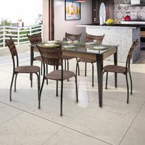 Conjunto Mesa Tampo de Vidro e 6 Cadeiras MD05 Espresso Móveis Grafite/Linho Marrom/Sienna -