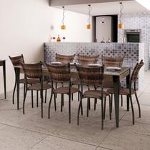 Conjunto Mesa Tampo de Vidro e 8 Cadeiras MD05 Yescasa Grafite/Linho Marrom/Sienna -