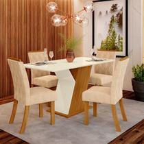 Conjunto Mesa Tampo MDF e 4 Cadeiras de Jantar Estofadas Lupita Casa 812 -
