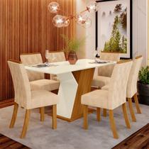 Conjunto Mesa Tampo MDF e 6 Cadeiras de Jantar Estofadas Lupita Casa 812 -
