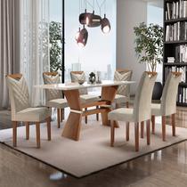 Conjunto Mesa Texas Tampo Slim Vidro Plus 6 Cadeiras Texas Cel Móveis Chocolate/Off White/Jacar -