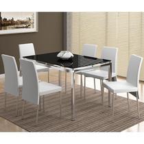 Conjunto Mesas 346 com Vidro Preto Cromada com 6 Cadeiras 306 Cromada/Branca Carraro -