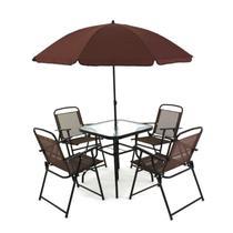Conjunto Miami 4 Cadeiras Com mesa e Guarda Sol Café BelFix -