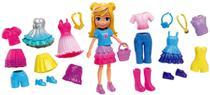 Conjunto Mini Boneca Colecionável Menina Loira Polly Pocket Festa Com Várias Roupinhas - Mattel -