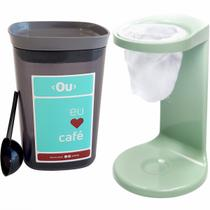 Conjunto Mini Coador De Café E Pote Hermético Para Café Ou Verde Menta com Chumbo -