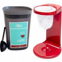 Conjunto Mini Coador De Café E Pote Hermético Para Café Ou Vermelho com Chumbo -