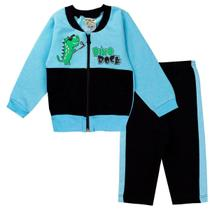 Conjunto Moletom Infantil Bebê Menino Dino Rock Azul - Fantoni