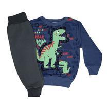 Conjunto Moletom Infantil Dino Roar Azul - Albatex -