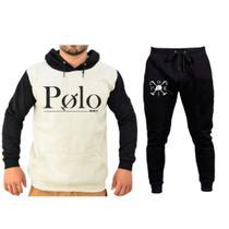 Conjunto Moletom Masculino Polo Capuz mais Calça Slim Polo Boné Tecido macio e Confortável - Efect