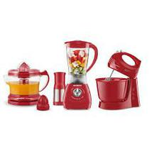Conjunto  Mondial Gourmet Red (Espremedor Premium + Batedeira Power Prática Red + Liquidificador Power Red - Cadence