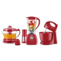 Conjunto  Mondial Gourmet Red (Espremedor Premium + Batedeira Power Prática Red + Liquidificador Power Red
