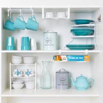 Conjunto organizador armário cozinha Metaltru 5 peças - Cesto Caneca Prato rack Suporte embalagem -