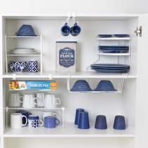 Conjunto organizador armário cozinha Metaltru 6 peças - Gaveta Xícara Prato racks Suporte embalagem - Combo Cozinha Master -