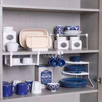 Conjunto organizador armário cozinha Metaltru - Cesto Xícara Prato rack ordenador formas- 5 Un - Cozinha - 02 -