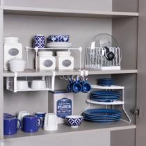 Conjunto organizador armário cozinha Metaltru - Cesto Xícara Prato rack tampas- 5 Un - Cozinha - 03 -