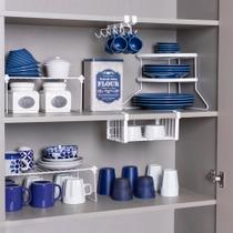 Conjunto organizador armário cozinha Metaltru - Cesto Xícara Prato racks- 5 Un - Cozinha 01 -