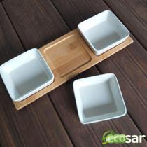 Conjunto P/ Petiscos 3 Potes Quadrados Bamboo - Baspan -