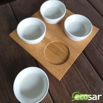 Conjunto P/ Petiscos 4 Potes Redondos Bamboo - Baspan - Ou