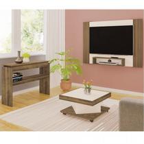 Conjunto p/ sala de estar Cine, com Painel, Mesa de centro e Aparador Artely Pinho com Off White -