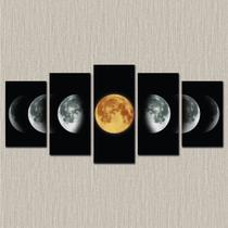 Conjunto paineis Quadro decorativo mosaico Fases da Lua - Mosaico 5 peças - Neyrad