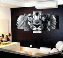 Conjunto paineis Quadro decorativo mosaico Leão Olho Azul Moderno Mosaico 5 Peças - Neyrad