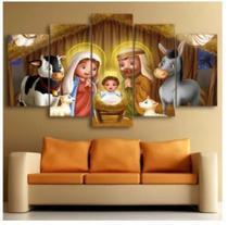 Conjunto paineis Quadro decorativo mosaico mosaico 5 peças Natal Presépio - Neyrad