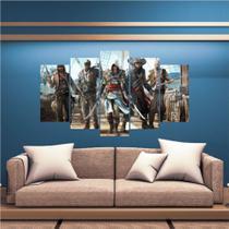 Conjunto paineis Quadro Gamer Mosaico Decoração 5 Peças Jogos Nerd - Neyrad