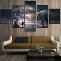 Conjunto paineis Quadro mosaico 5 peças abstrata elefante e menina Painel decorativo mosaico - Neyrad