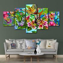 Conjunto paineis Quadro mosaico 5 peças Borboletas flores Painel decorativo mosaico - Neyrad