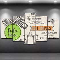Conjunto paineis Quadro Mosaico 5 Peças Café Painel decorativo mosaico - Neyrad