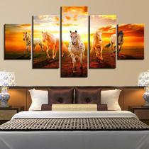 Conjunto paineis Quadro mosaico 5 peças cavalos running do pôr-do-sol  Painel decorativo mosaico - Neyrad