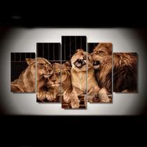 Conjunto paineis Quadro mosaico 5 peças leão família Painel decorativo mosaico - Neyrad