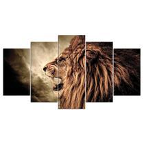 Conjunto paineis Quadro mosaico 5 peças leão howl Painel decorativo mosaico - Neyrad