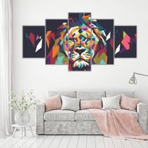 Conjunto paineis Quadro Mosaico 5 Peças LEÃO Minimalista Abstrato - Neyrad