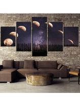 Conjunto paineis Quadro mosaico 5 peças lua noite eclipse lunar  Painel decorativo mosaico - Neyrad