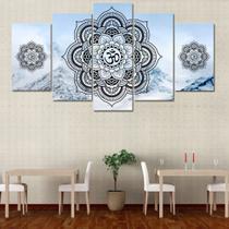 Conjunto paineis Quadro mosaico 5 peças Mandala branco  Painel decorativo mosaico - Neyrad