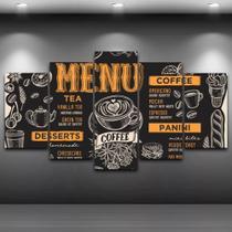 Conjunto paineis Quadro Mosaico 5 Peças Painel decorativo mosaico Café - Neyrad