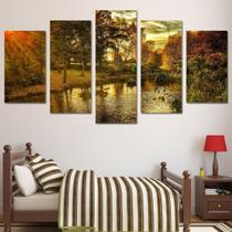 Conjunto paineis Quadro mosaico 5 peças Selva sol natureza  Painel decorativo mosaico - Neyrad