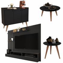 Conjunto Painel / Aparador Buffet Wood / Mesa de Centro e Lateral Cissa - Preto - Rpm Móveis