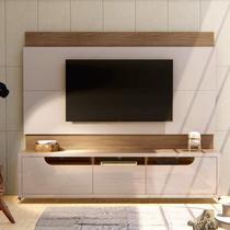 Conjunto Painel para TV até 65 Polegadas Versátile Expand e Rack Jersey com Rodízios Casa D Off White/Noce -