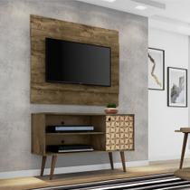 Conjunto Painel Tv Bali Com Rack Jade Cor Madeira Rustica 3D - Moveis bechara