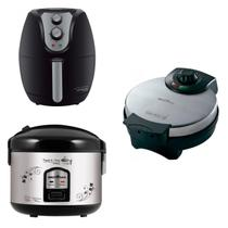 Conjunto Panela Elétrica, Máquina de Waffle e Fritadeira 127V Britânia Preto -
