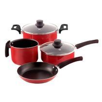 Conjunto Paneleiro com 4 Peças Vermelho Antiaderente Mr Cook - Mr. Cook