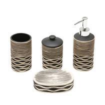 Conjunto para banheiro 4 peças em cerâmica Stripe - Prestige